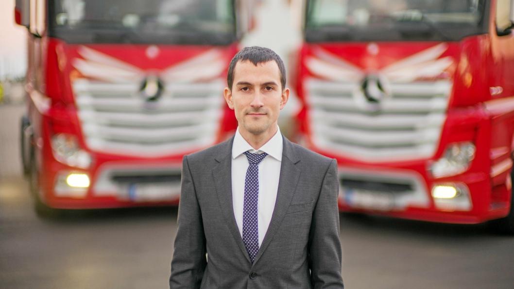 VEKST: Pavel Solovjovs er kommersiell direktør i Kreiss. Han har jobbet i Kreiss i 12 år. Da han begynte hadde selskapet45 lastebiler - dag har de 1500.