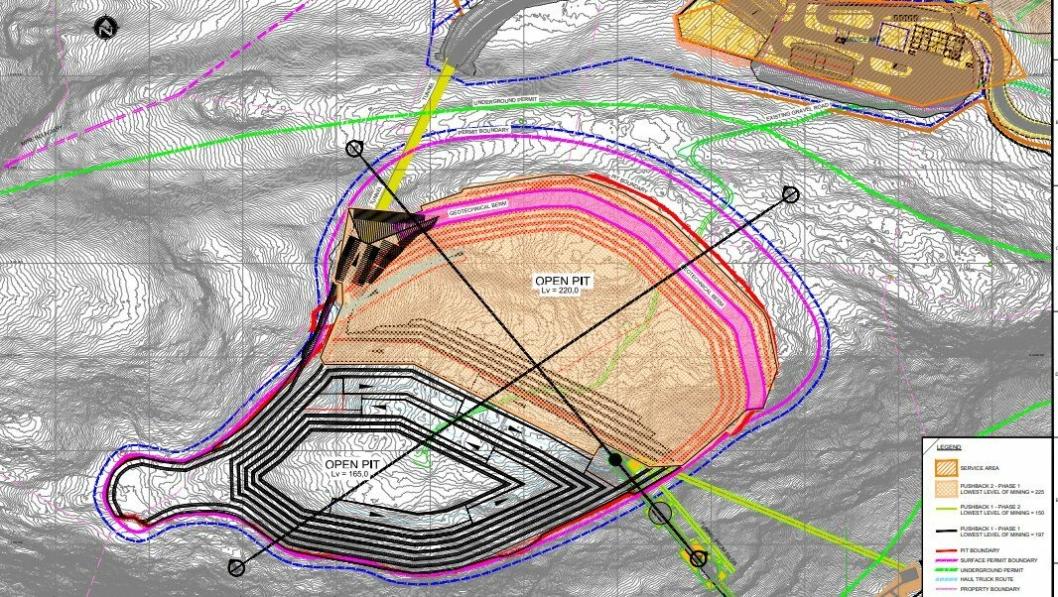 Oversikt over den planlagte gruveutviklingen på Engebøprosjektet.