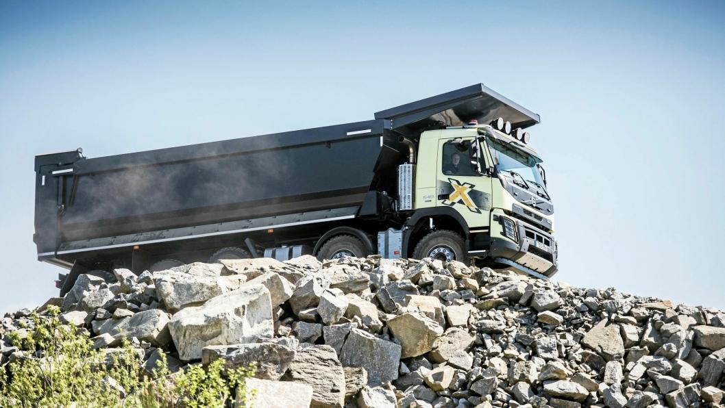 Styring: En FMX 540 8x4 Gruvebil med en teknisk nyttelast på 38 tonn og Volvos dynamiske styring.
