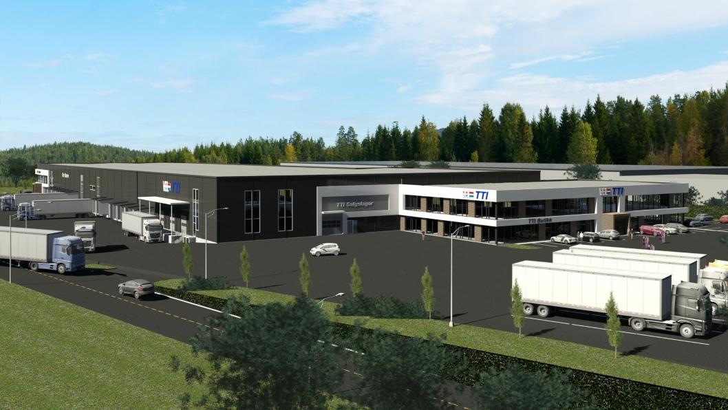 Slik skal det se ut når det nye logistikkbygget står ferdig på Berghagan i Ski kommune (Akershus) i 2020.