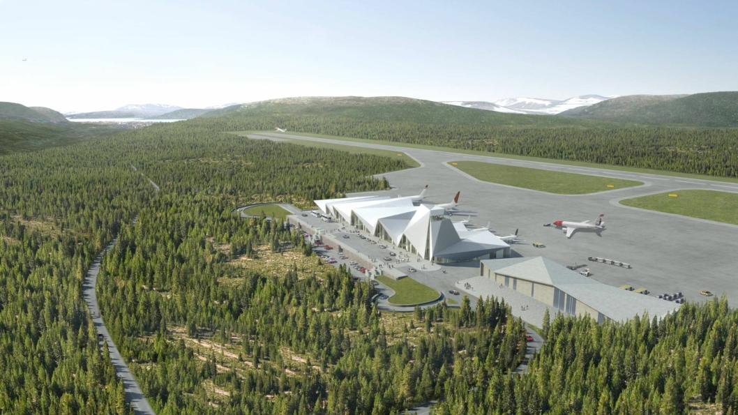 Slik ser Polarsirkelen Lufthavnutvikiling AS for seg at den nye flyplassen i Nordland kan se ut.