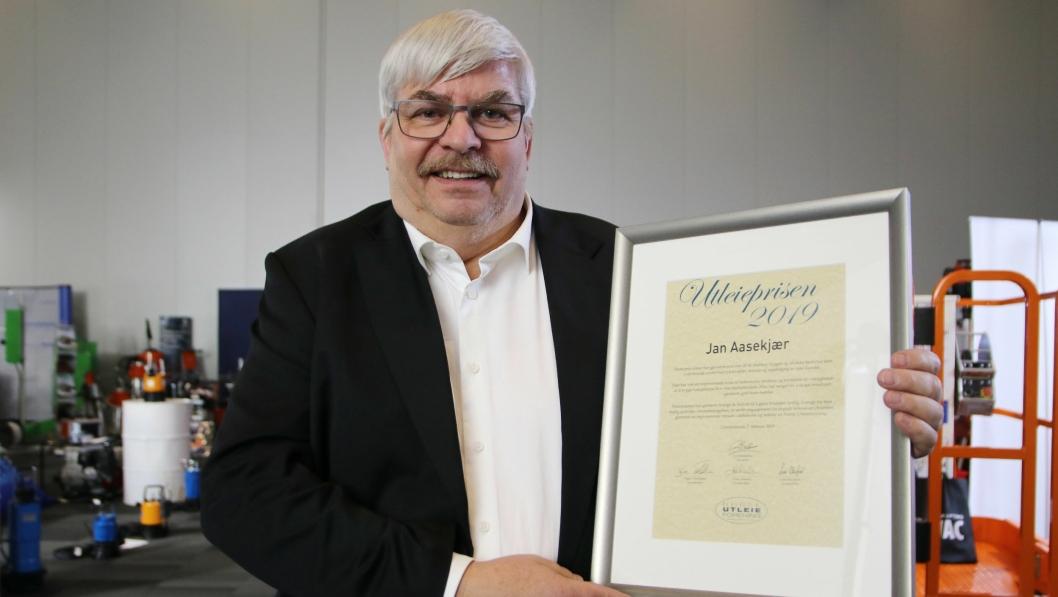UTLEIEPRISEN 2019: Jan Aasekjær mottok Utleieprisen 2019.