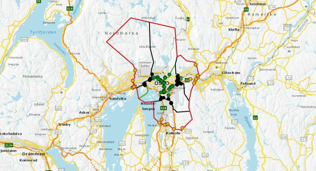 Se lenke til dette kartet i artikkelteksten under. Det viser innkrevingspunktene i Oslo fra og med juni 2019.