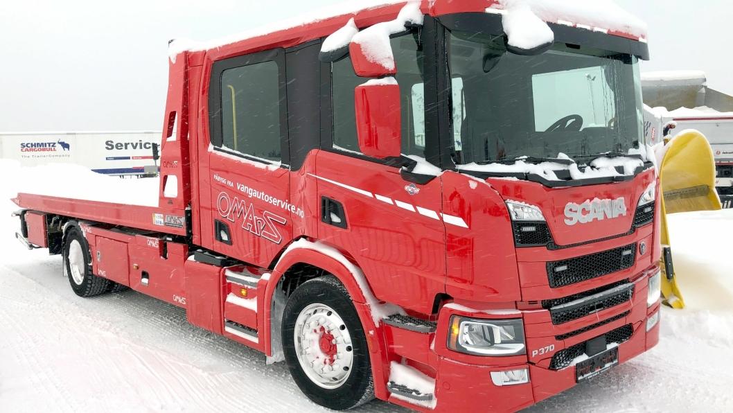 FØRSTE: Norges første Scania P-serie med crewcab som bergingsbil.