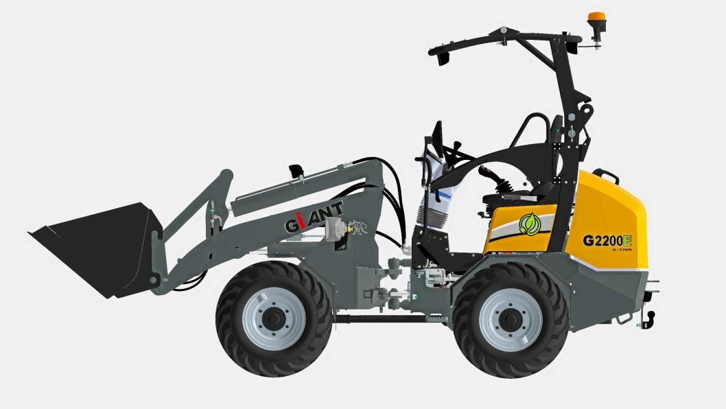 ELEKTRISK: Illustrasjon av maskinen som vises på Bauma. G2200E kommer i to utgaver, en med litt høyere tipphøyde og en med større løftekapasitet, men litt lavere tipphøyde.