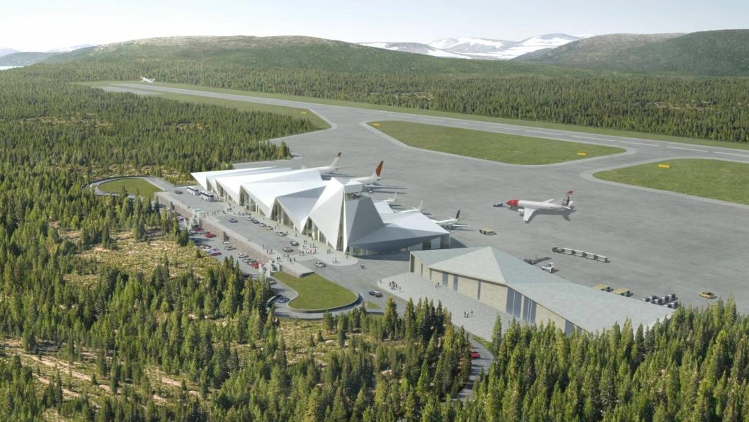 Slik ser man for seg at den nye flyplassen kan se ut og plasseres i terrenget.