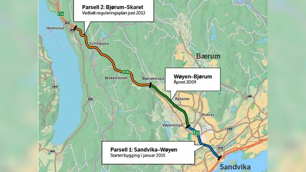 Statens vegvesen har lyst ut siste rive-/bygge-jobb på E16 Sandvika – Wøyen.