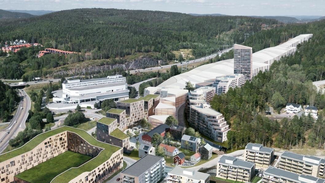 Illustrasjon av den nye bydelen Snøporten på Lørenskog. Det nye Thon-hotellet skal bygges inntil innendørsarenaen Snø.