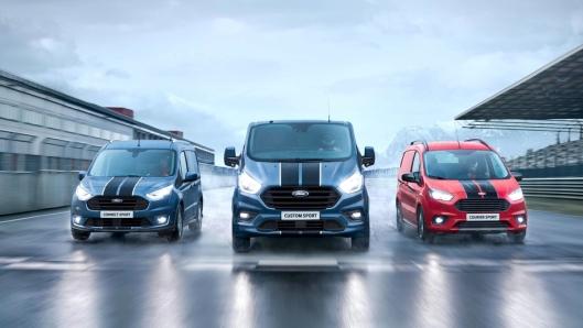 Ford Transporter Sport-rangen. Fra venstre: Connect, Custom og Courier.