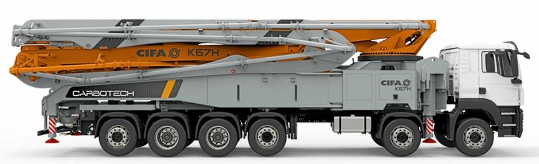 KJEMPESTOR: CIFA har utvidet Carbotech-programmet med betongpumpen K60H. Kjøretøyet har seks aksler og veier 60 tonn.