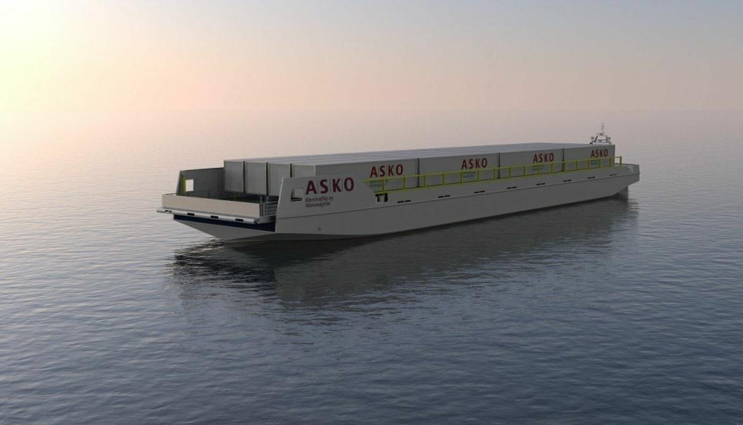 Kryssing av Oslofjorden med elektriske fartøy lastet med gods og forbruksvarer kan være fremtiden. (Ill.: Naval Dynamics).