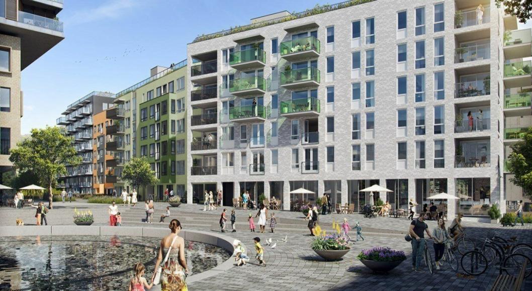 «Fiolen» er tredje byggetrinn med 116 leiligheter, næringslokaler og parkeringsanlegg på Vollebekk i Oslo øst.