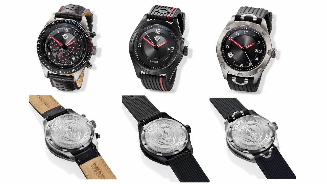 De tre nye klokkene som markerer 50 år for Scanias V8-motorer. Fra venstre (med tilhørende bakside under hver klokke): Limited, Black og Metal.