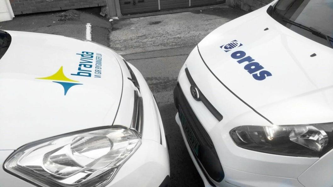 Oras-biler omprifileres til Bravida-biler når Oras blir en del av Bravida.