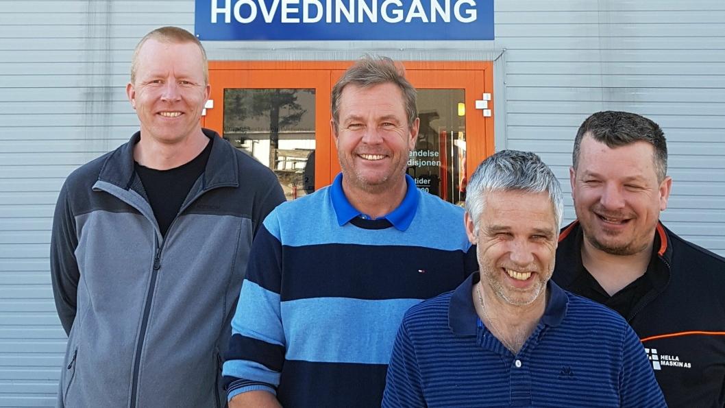 Fra venstre: Sveinung Liaskar (avd. Sykkylven), Jon Hella (daglig leder), Magne Rivenes (avd. Bergen) og Asbjørn Herikstad (avd. Stavanger).