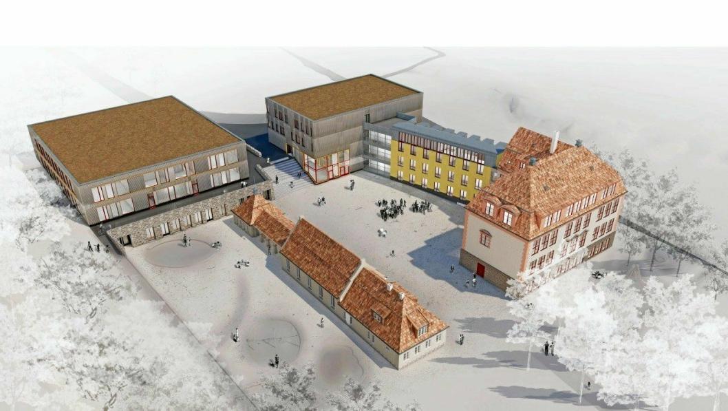 KOLBOTN SKOLE: Slik blir nye Kolbotn skole  når den står ferdig våren 2021.