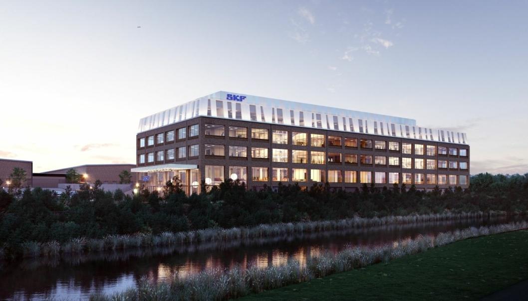 Slik skal SKFs nye hovedkontor, etter at selskapets gamle sentrallagerbygg er ombygget til hovedkontor.