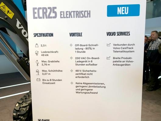 Fakta om elektriske Volvo ECR25 (på tysk).