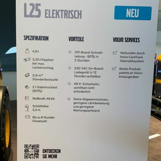 Tekniske fakta om nye Volvo L25 Elektrisk (på tysk).