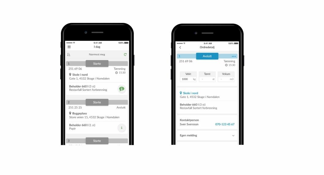 Via en app får sjåførene informasjon om alle sine oppgaver og kan se ruten på et kart direkte på mobilen.