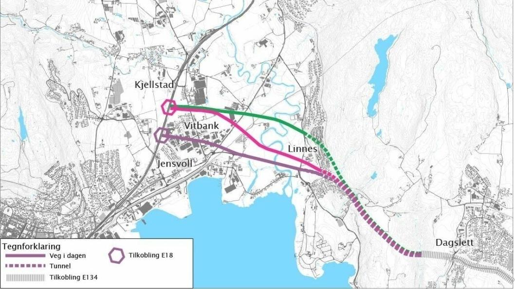 Statens vegvesen foreslår å utrede Jensvollkorridoren (merket med lilla), Vitbankkorridoren (merket med rosa) og Husebykorridoren (merket med grønt).