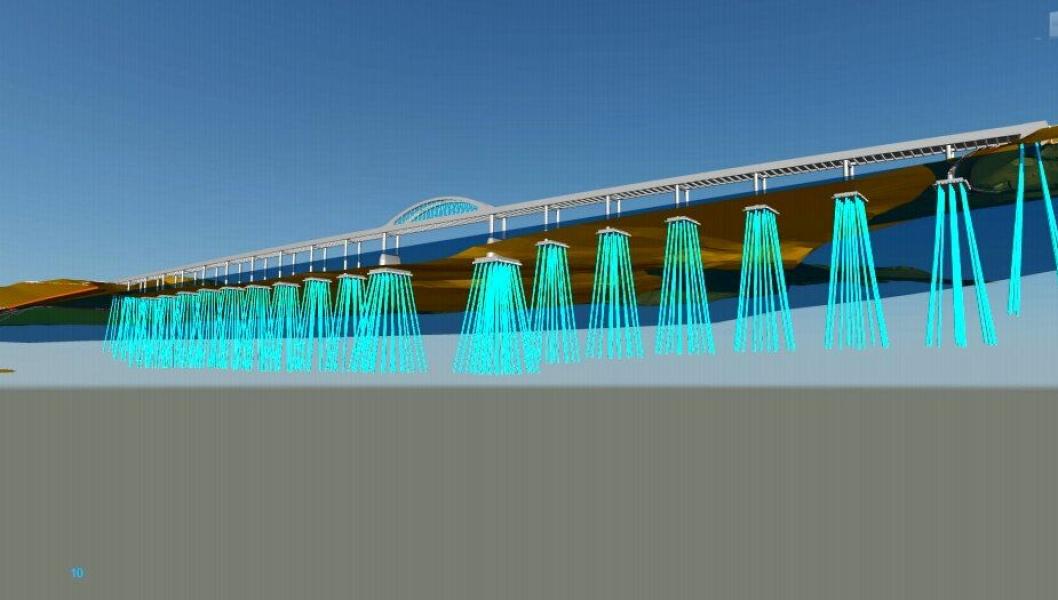 Minnevika jernbanebru skal stå på268 peler, og hverav pelene går 40meter dypt.