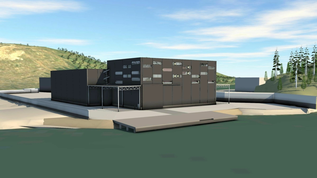 Illustrasjon av det nye lageret i Skien.