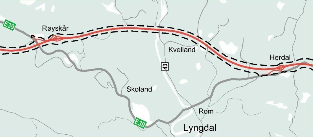 Prosjektet omfatter detaljregulering av omtrent ti kilometer med ny E39, fra Herdal til Røyskår i Lyngdal kommune.