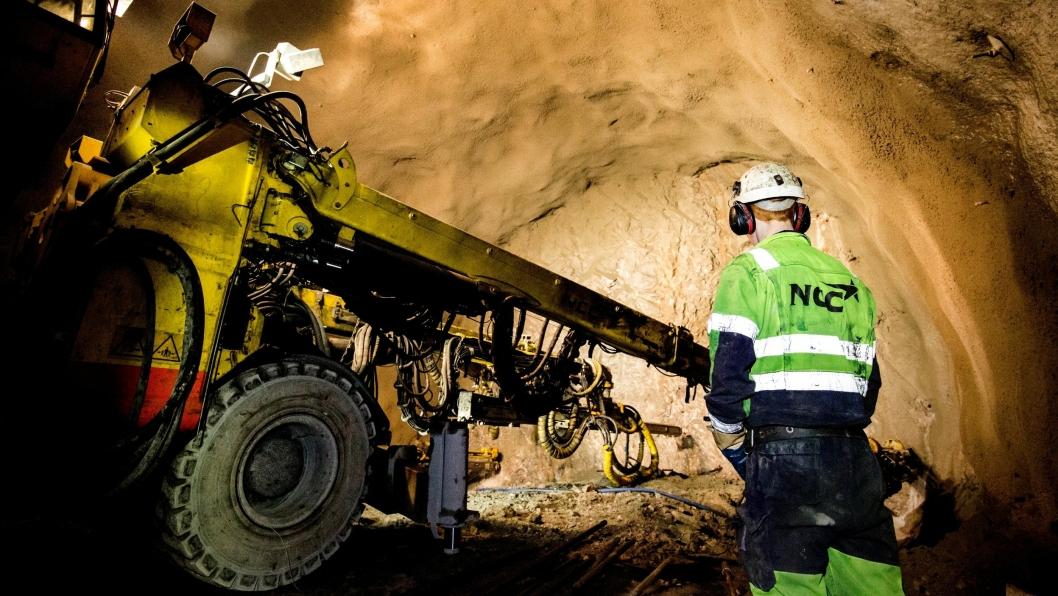 Bilde fra NCCs bygging av tunnel på E134 mellom Gvammen og Århus i Telemark.