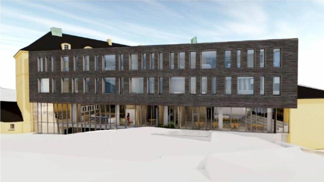 Slik skal utvidelsen av Midtun skole på Nesttun i Fana bydel i Bergen bli.