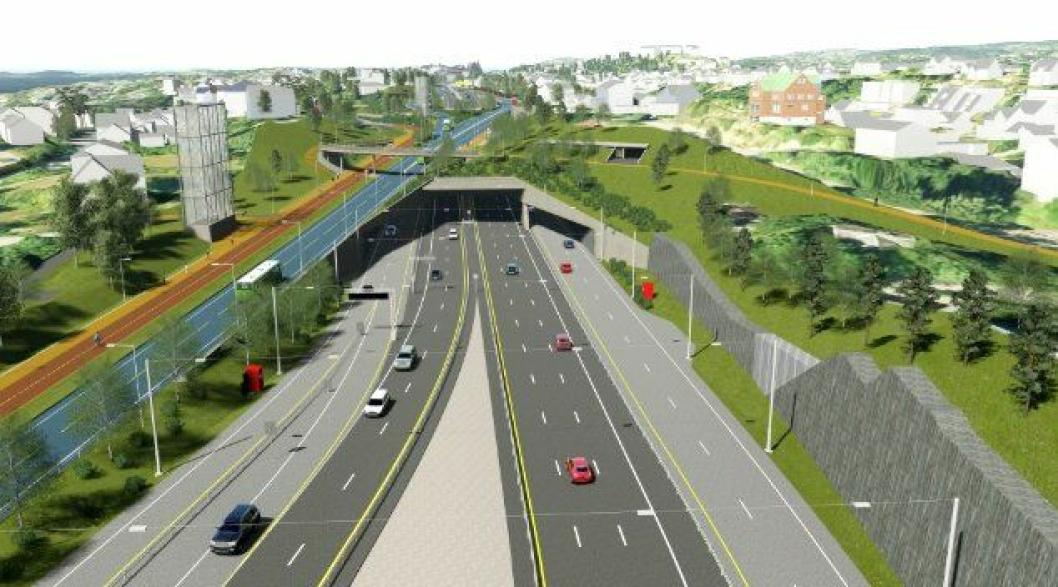 Illustrasjon fra strekningen E18 Lysaker- Ramstadsletta, hovedfartåren vestover fra Oslo.