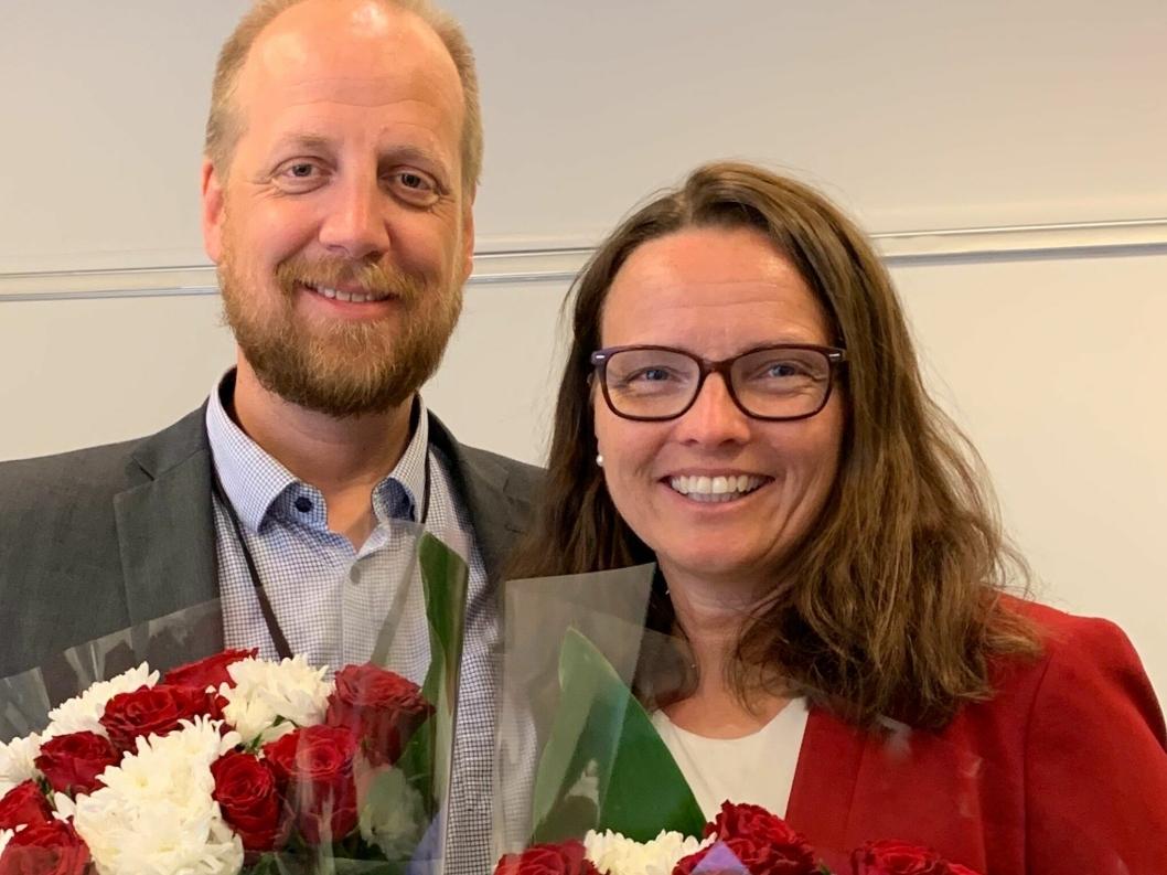 Øyvind Engelstad og Kjersti Kvalheim Dunham ble takket av.
