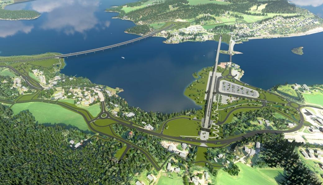 Slik er planene for Sundvollen dersom det blir etablert liten utfylliing. Ny E16 til venstre i illustrasjonen, og Ringeriksbanen til høyre.