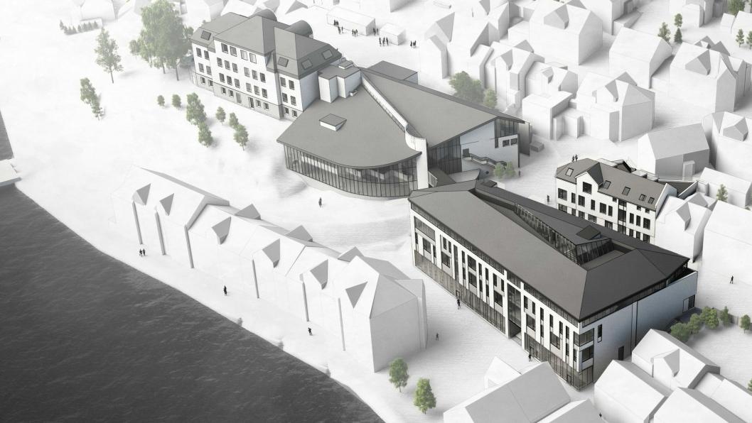 Slik skal Eilert Sundt videregående skole i Farsund etter planen bli etter bygging og rehabilitering.