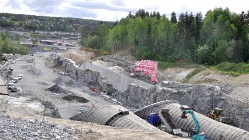 Implenia har bygget Svartåstunnelen og tilstøtende veistrekninger på ny E134 i Kongsberg. Bildet er tatt i mai 2019.
