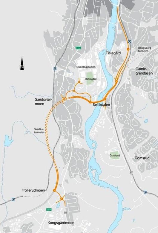 Implenia bygger ny E134 på strekningen Myntbrua-Trollerudmoen i Kongsberg.