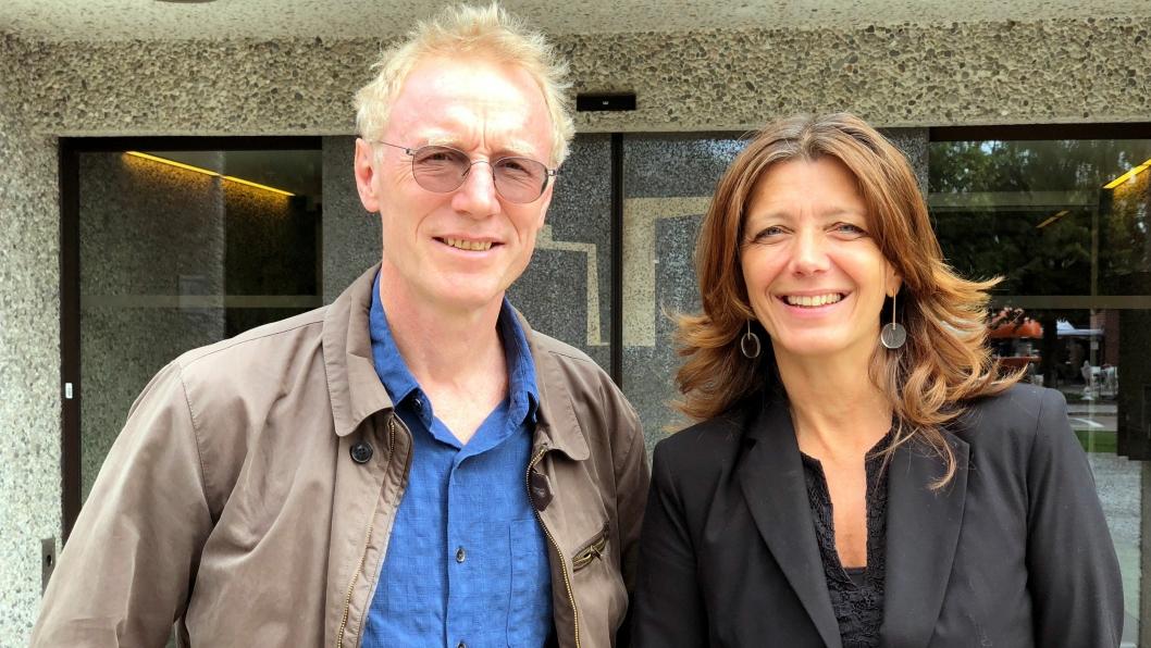 Nestleder Steinar Krogstad i Fellesforbundet og administrerende direktør i NHO Service og Handel, Anne-Cecilie Kaltenborn.