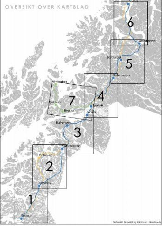 Parsellinndeling av Nord-Norgebanen Fauske-Tromsø, samt arm Bjerkvik-Harstad. Parsellene følger en hensiktsmessig inndeling av traséene, og gir mulighet for en oppdeling til eventuell trinnvis utbygging. Dette skriver Asplan Viak i en vurdering av trasevalg på oppdrag for Jernbanedirektoratet.