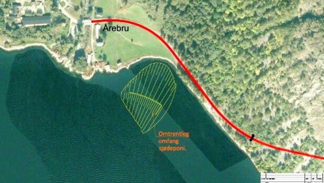 Statens vegvesen ønsker å deponere tunnelmasser i Årdalsfjorden, innerst i Sognefjorden, ved Årebru.