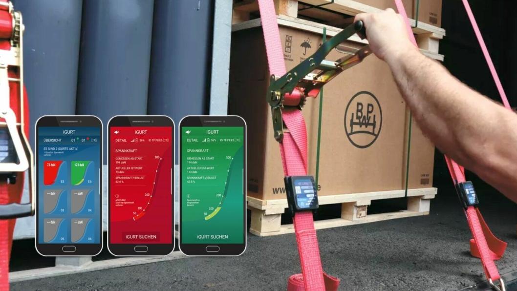 Med iGurt-målere festet på spennbåndene, kan man overvåke om de holder seg stramme under transporten via en app på smartelefon/nettbrett.