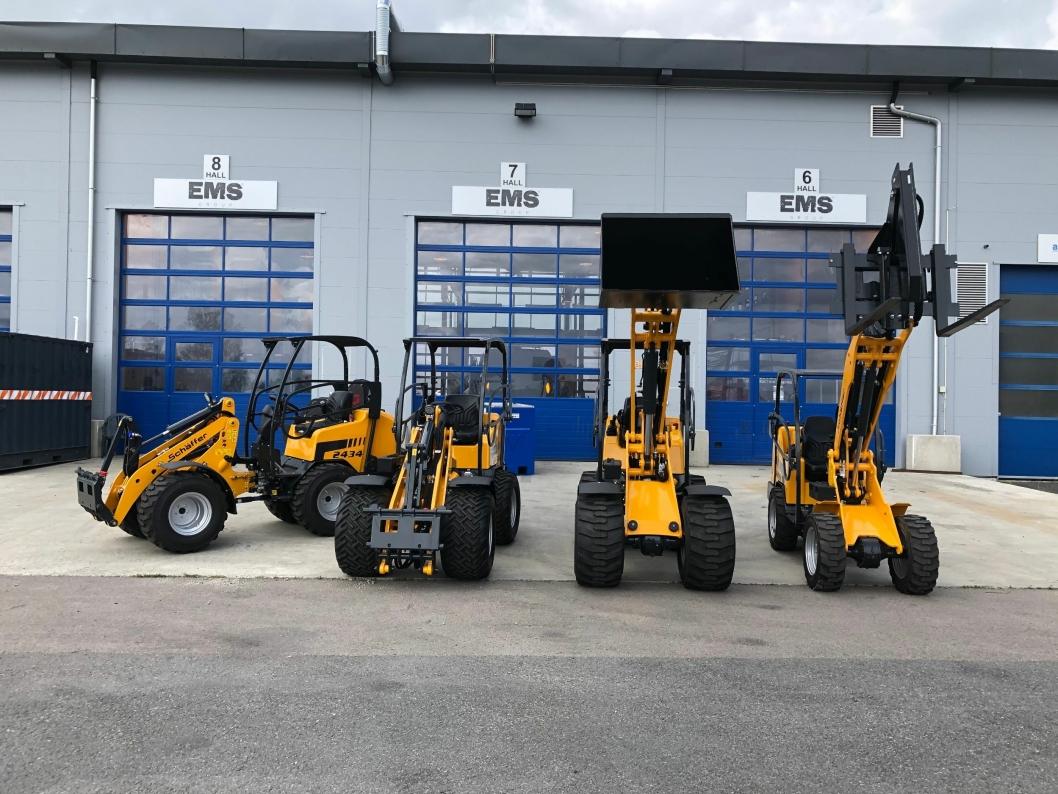 Flere minilastere fra den tyske produsenten Schäffer Maschinenfabrik GmbH er allerede på plass hos EMSG Norge på Berger utenfor Oslo.