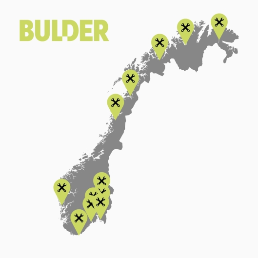 Steder der Bulder, og dermed også Vestlandske Trailer, er representert med verksteder.