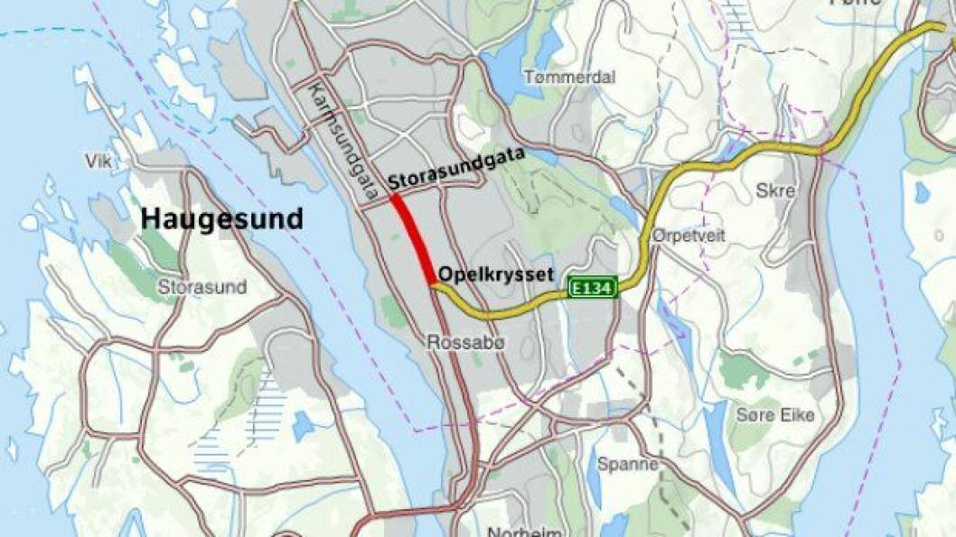 Fv. 47 Karmsundgata mellom Storasundgata og Opelkrysset i Haugesund skal utvides fra to til fire felt over en strekning på ca. 1300 meter. Gang- og sykkeltilbudet skal også oppgraderes.