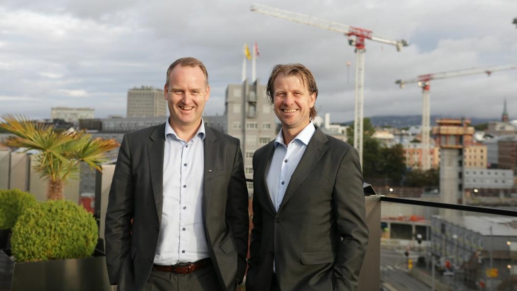 Morten Grongstad, adm. direktør i AF Gruppen (t.v.) og Jørgen Evensen, adm. direktør i Betonmast.