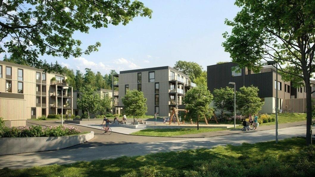AF Gruppen skal bygge Bråtejordet B7, et boligprosjekt bestående av 125 leiligheter og 63 rekkehus i Skedsmo kommune.