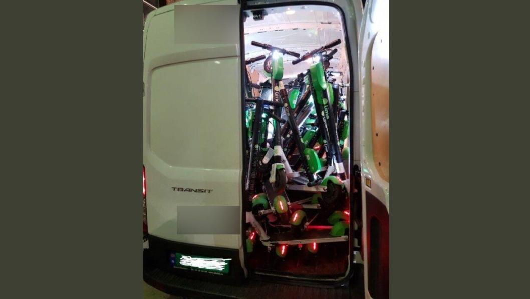 Varebilen var lastet med elektriske sparkesykler. Og den veide 325 kg for mye.