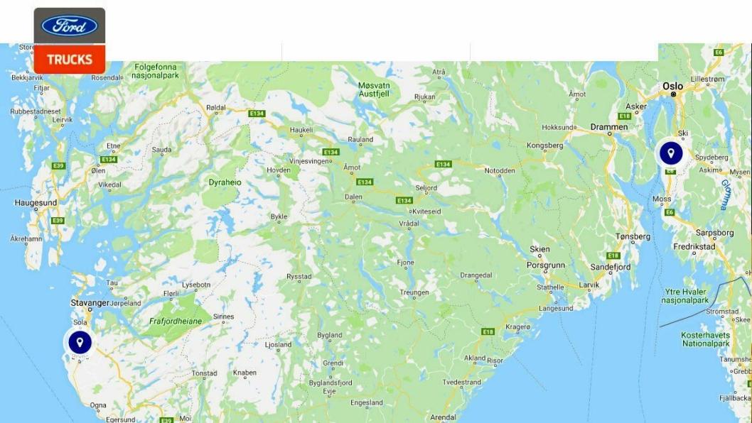 Ford Trucks Servicepunkter i Norge (Bryne og Vestby).