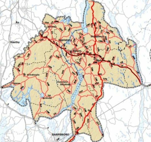 Driftskontrakten gjelder for Østfold nord, området vist på illustrasjonen.