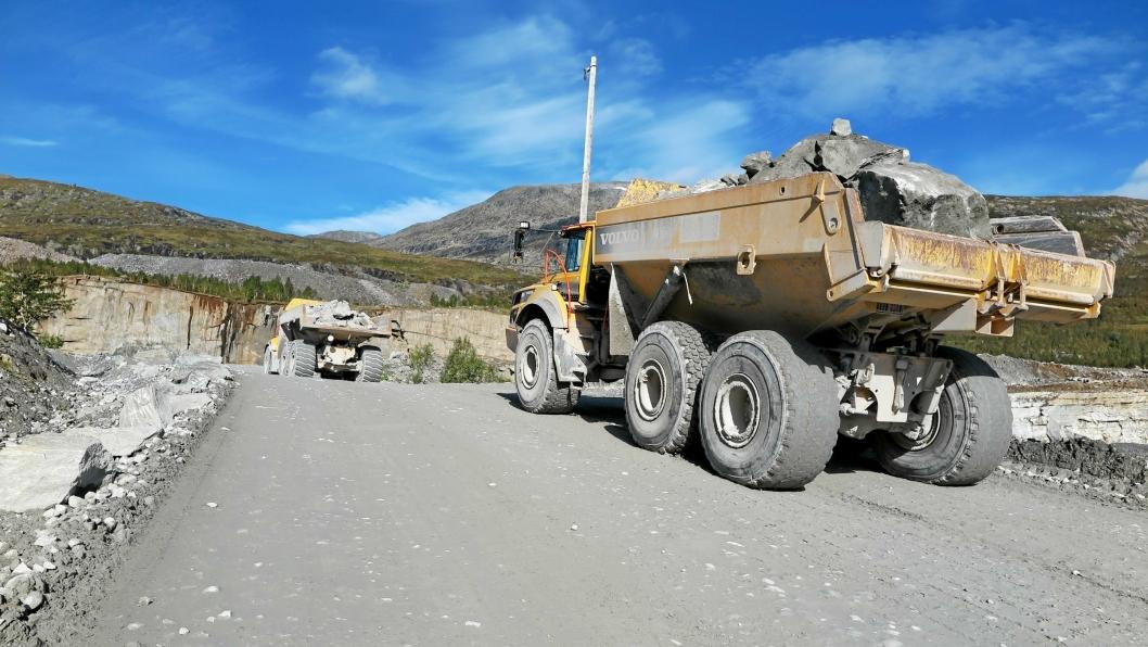 Rana Gruber AS. Bilde fra testing av Volvo A60 dumpere i gruva, september 2018.