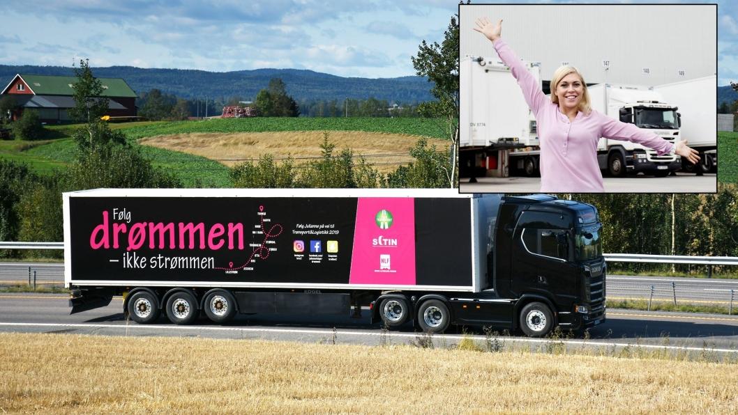 Julianne Brox, en trivelig og ærlig ambassadør for sjåføryrket, legger ut på tur 16. september fra Tromsø. Turen ender på messen Transport & Logistikk i Lillestrøm (26.-28. september).